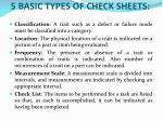 5 basic types of check sheets