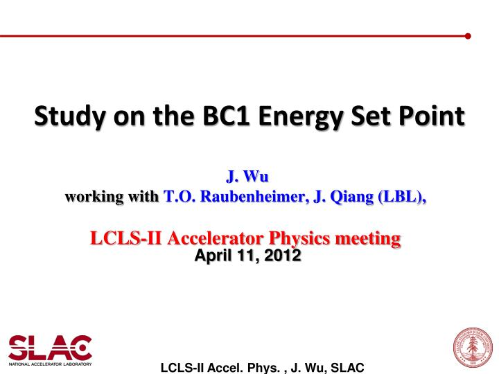 study on the bc1 energy set point n.