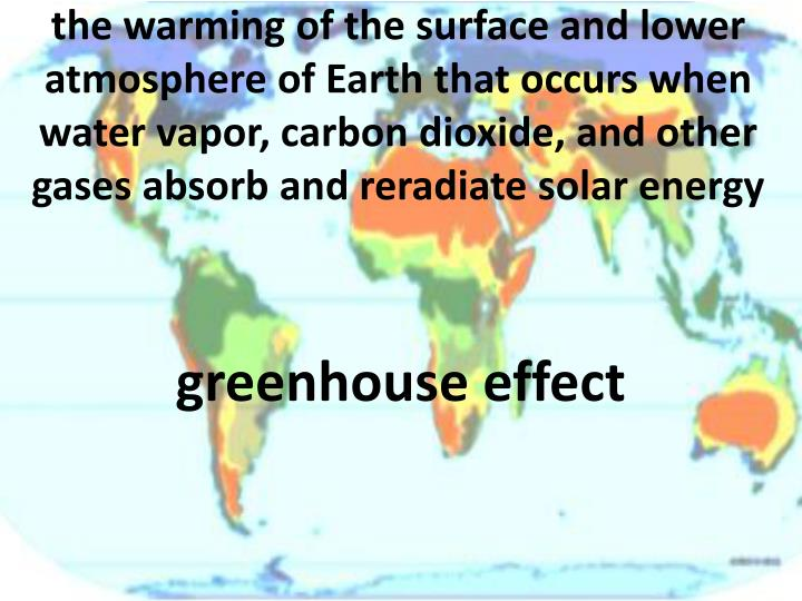 the warming of the surface and lower atmosphere of Earth that occurs when water vapor, carbon dioxide, and other gases absorb and reradiate solar energy