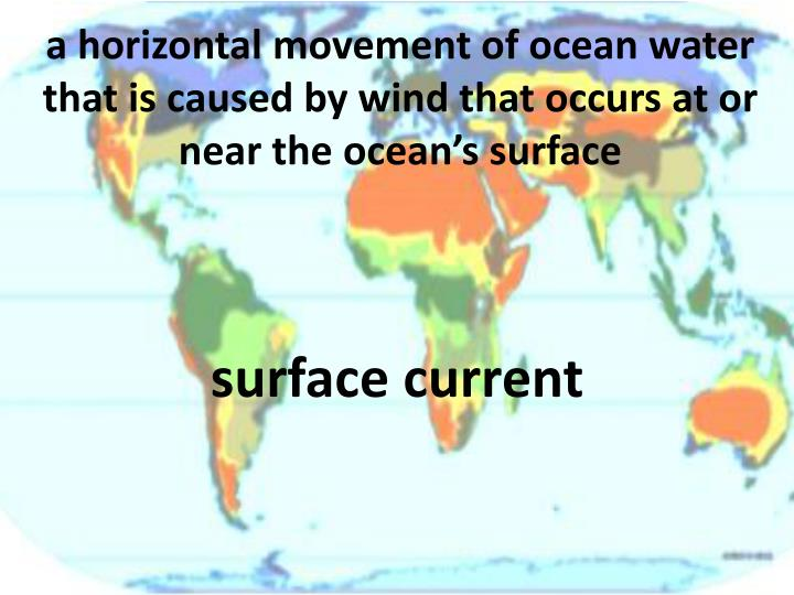 a horizontal movement of ocean water that is caused by wind that occurs at or near the ocean's surface