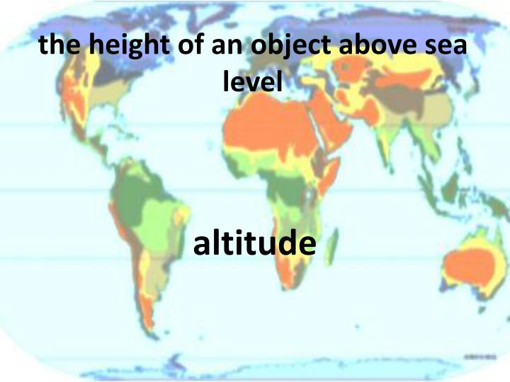 the height of an object above sea level