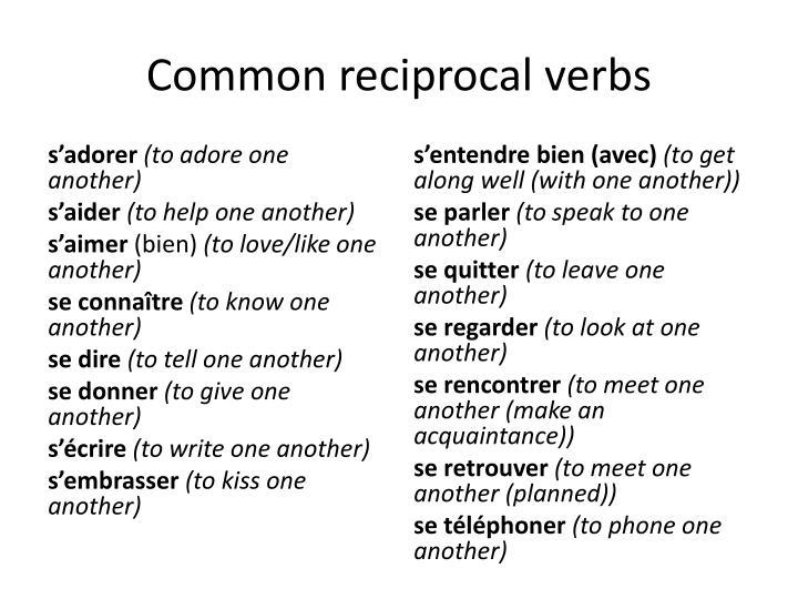 Common reciprocal verbs