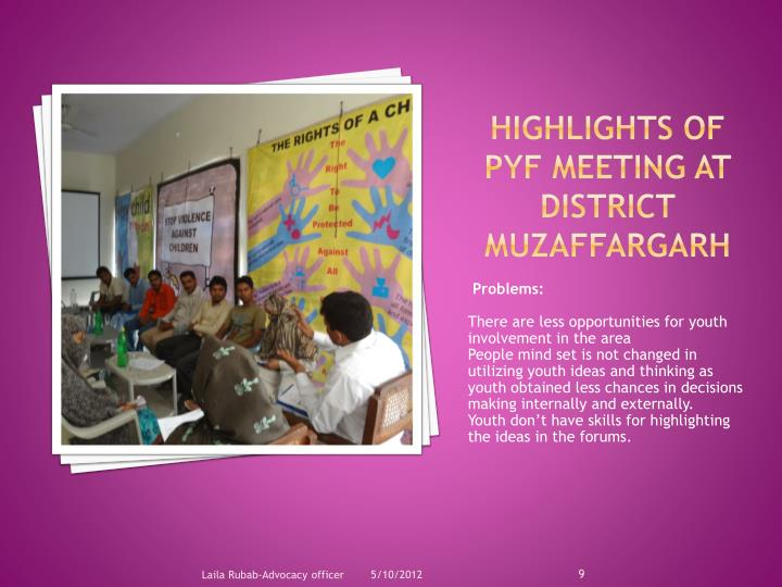 Highlights of PYF meeting at District Muzaffargarh