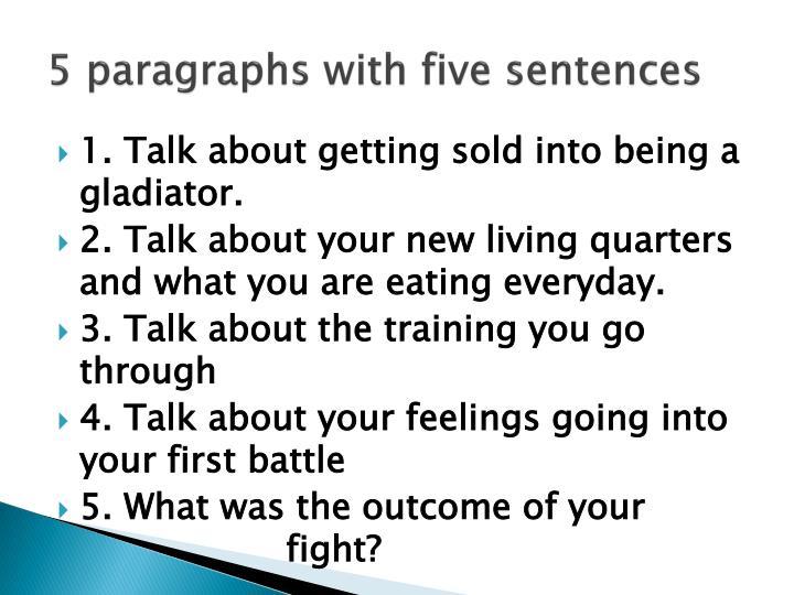 5 paragraphs with five sentences