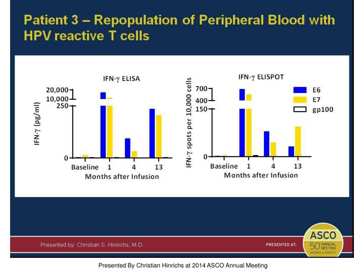 Patient 3 – Repopulation of Peripheral Blood with HPV reactive T cells