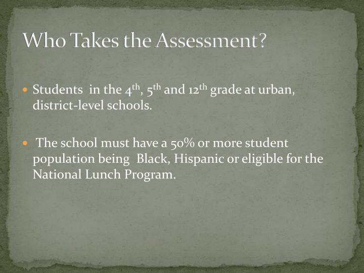Who Takes the Assessment?