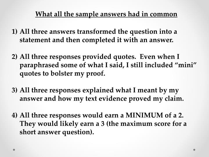 What all the sample answers had in common