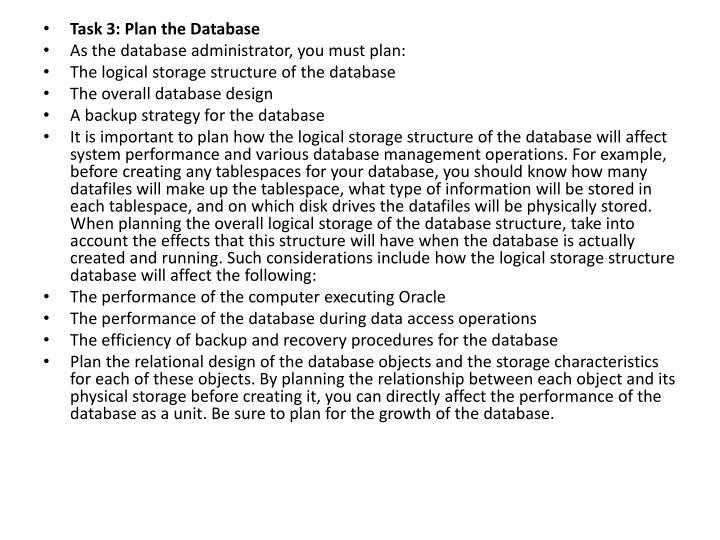 Task 3: Plan the Database