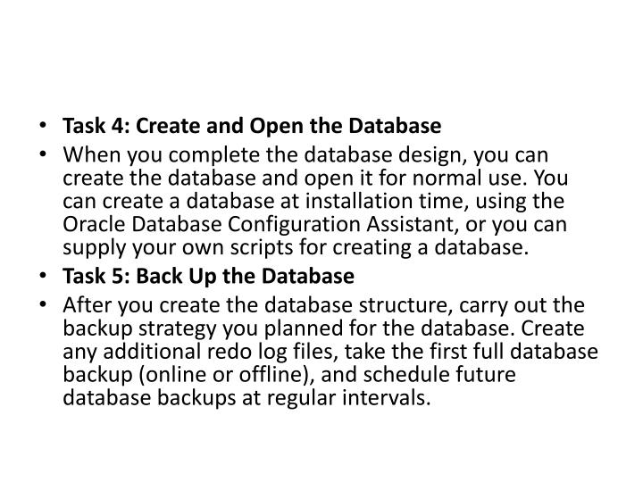 Task 4: Create and Open the Database