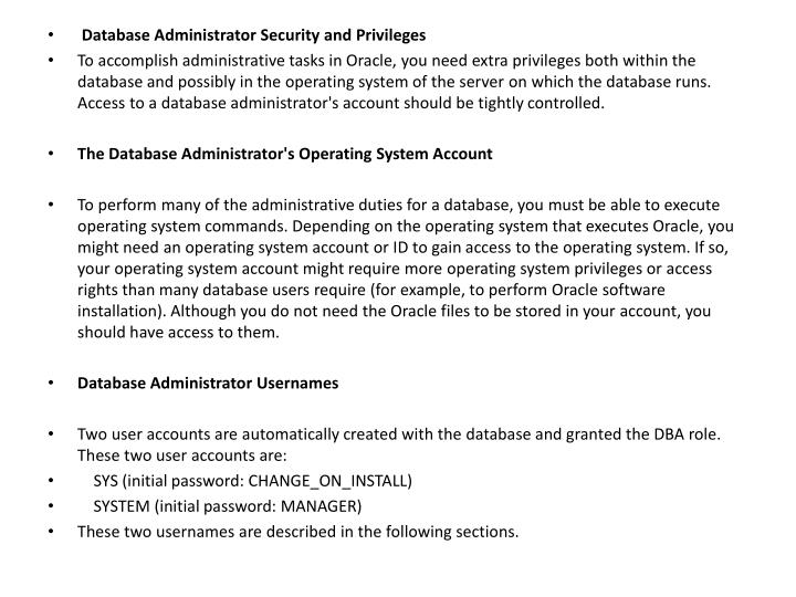 Database Administrator Security and Privileges