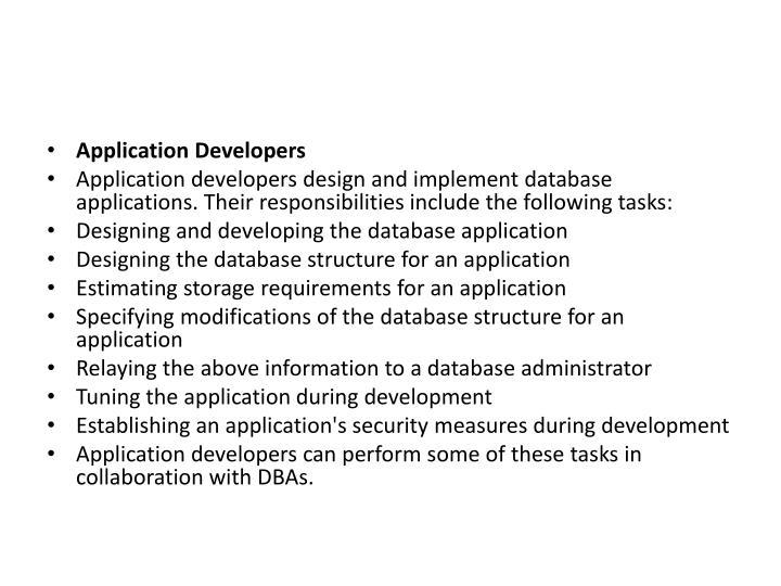 Application Developers