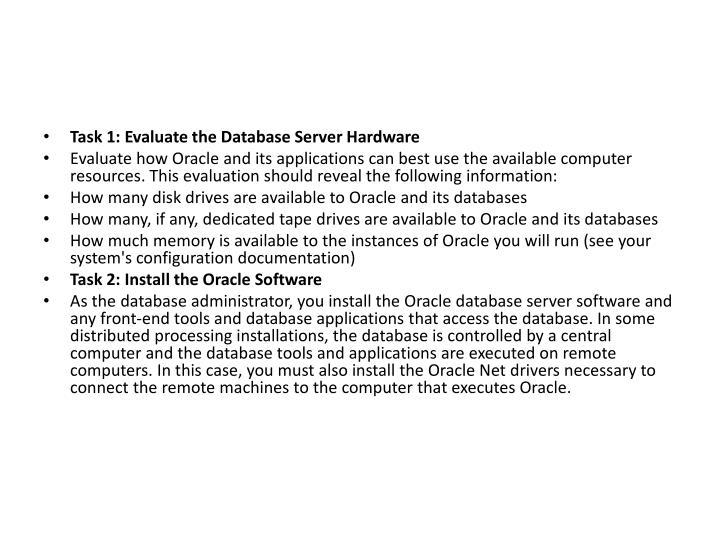 Task 1: Evaluate the Database Server Hardware