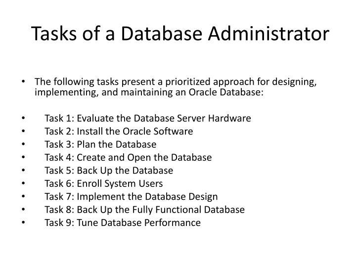 Tasks of a Database Administrator
