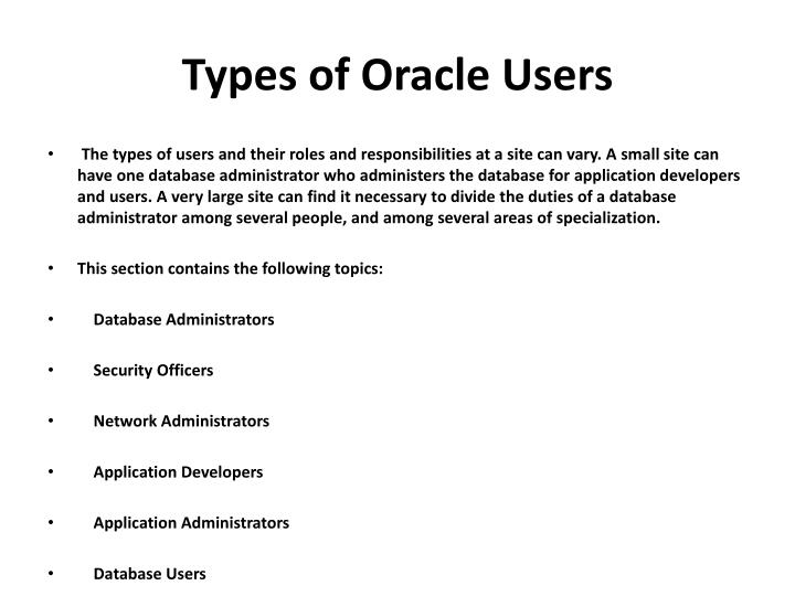 Types of oracle users