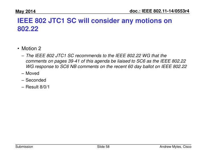 IEEE 802 JTC1 SC will consider any