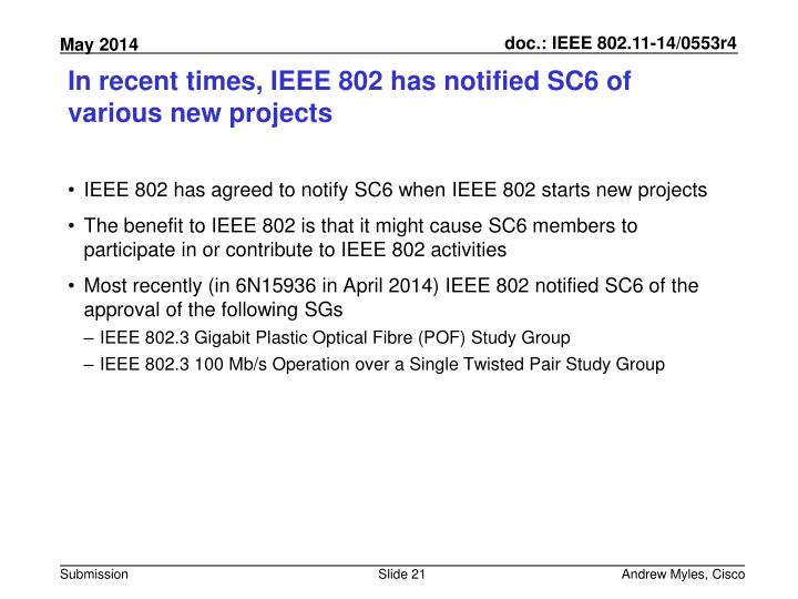 In recent times, IEEE 802 has notified SC6 of various new projects