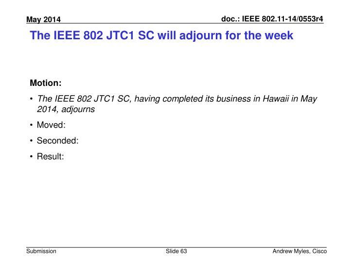 The IEEE 802 JTC1 SC