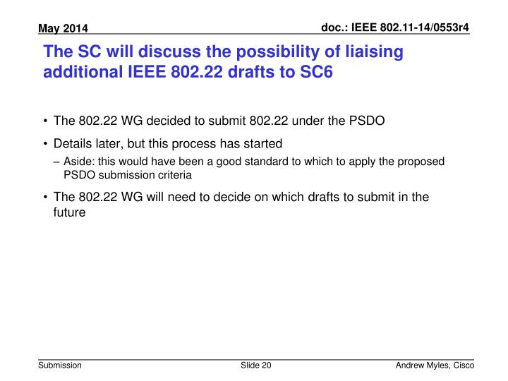 The SC will discuss the possibility of liaising additional IEEE 802.22 drafts to SC6