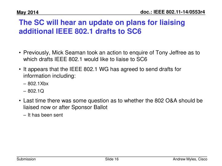 The SC will hear an update on plans for liaising additional IEEE 802.1 drafts to SC6