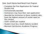 state south dakota need based grant program