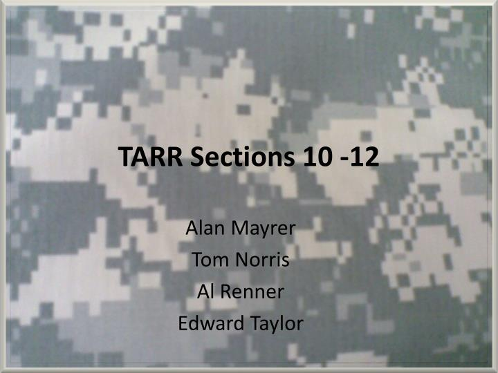 Tarr sections 10 12