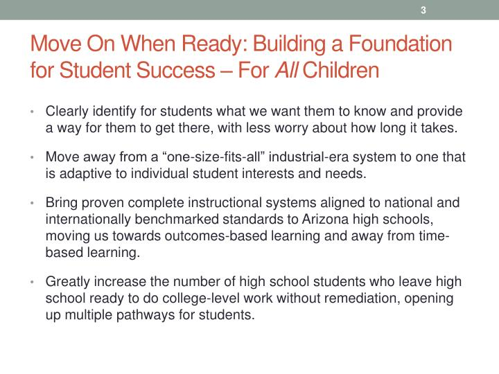 Move on when ready building a foundation for student success for all children