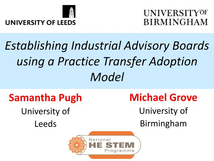 establishing industrial advisory boards using a practice transfer adoption model n.