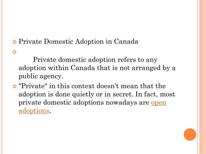 Private Domestic Adoption in Canada