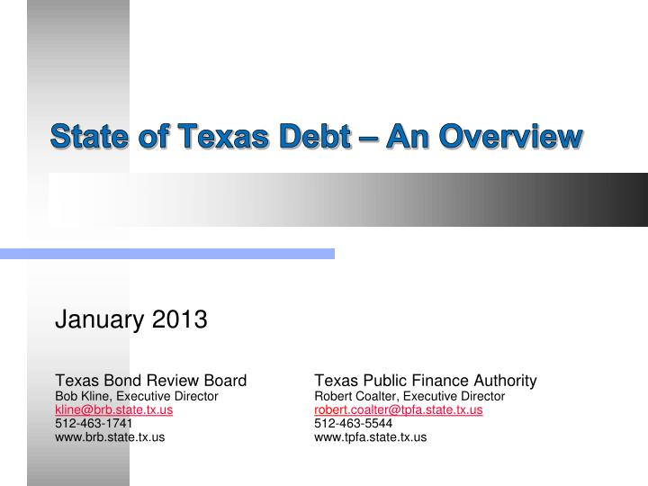 state of texas debt an overview n.