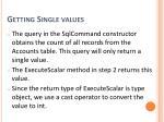 getting single values2