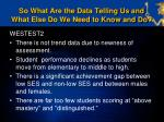 so what are the data telling us and what else do we need to know and do1