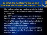 so what are the data telling us and what else do we need to know and do3