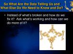 so what are the data telling us and what else do we need to know and do5