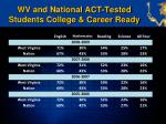 wv and national act tested students college career ready