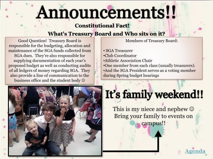 Announcements!!