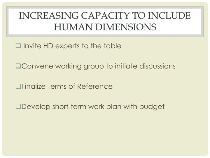 Increasing capacity to include Human dimensions