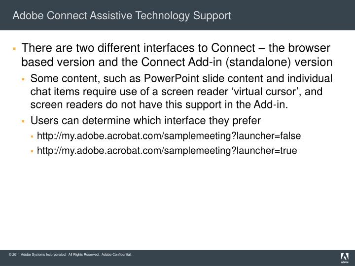 Adobe Connect Assistive Technology Support
