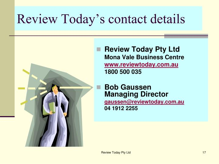 Review Today's contact details