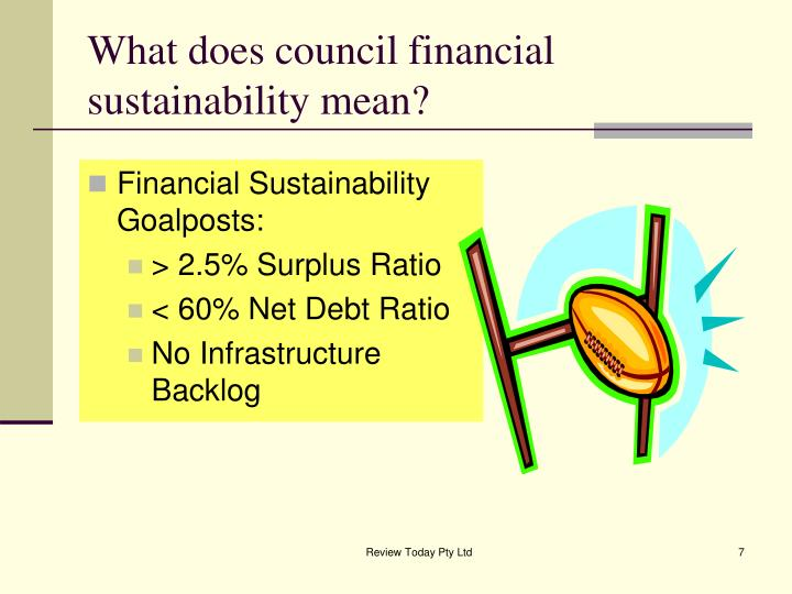 What does council financial sustainability mean?