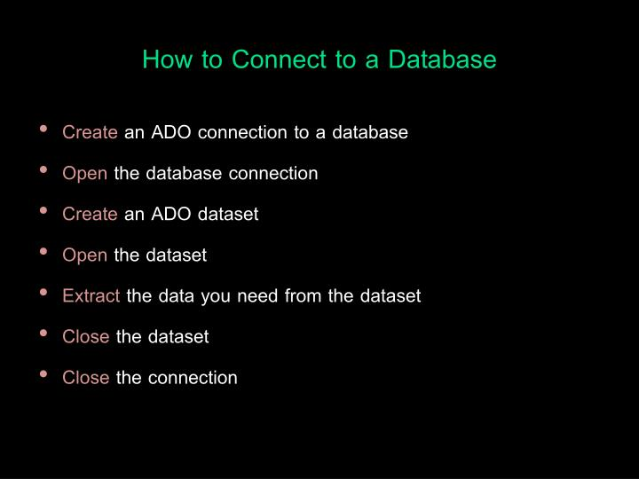 How to Connect to a Database