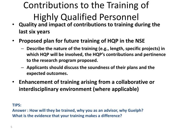Contributions to the Training of Highly Qualified Personnel