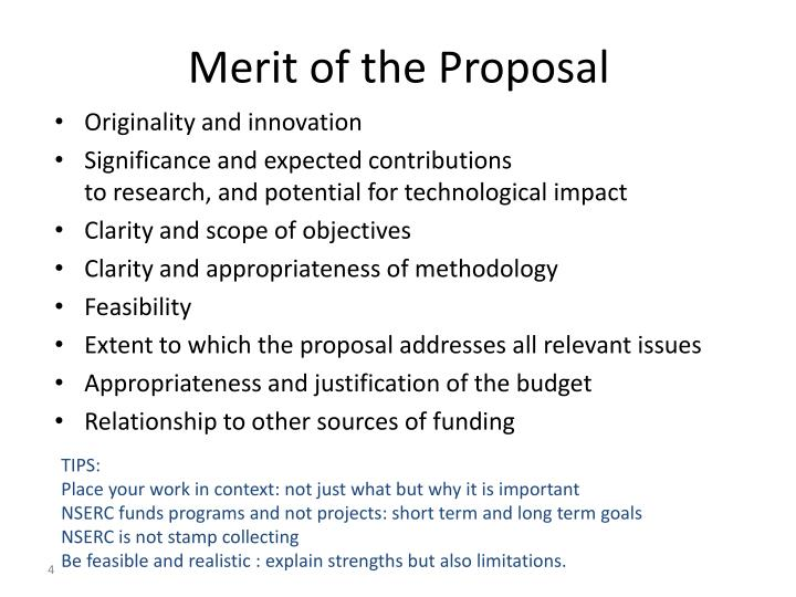 Merit of the Proposal