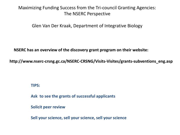 Maximizing Funding Success from the Tri-council Granting