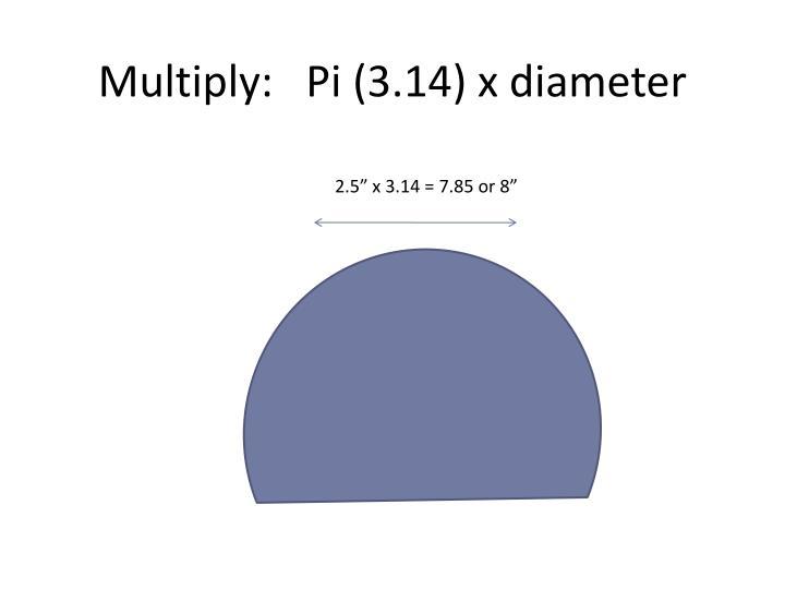Multiply:   Pi (3.14) x diameter