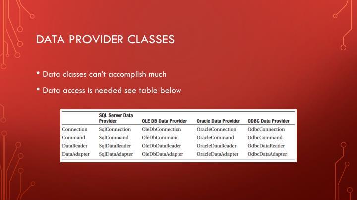 Data provider classes