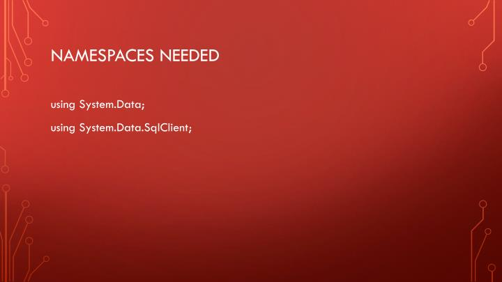 Namespaces needed