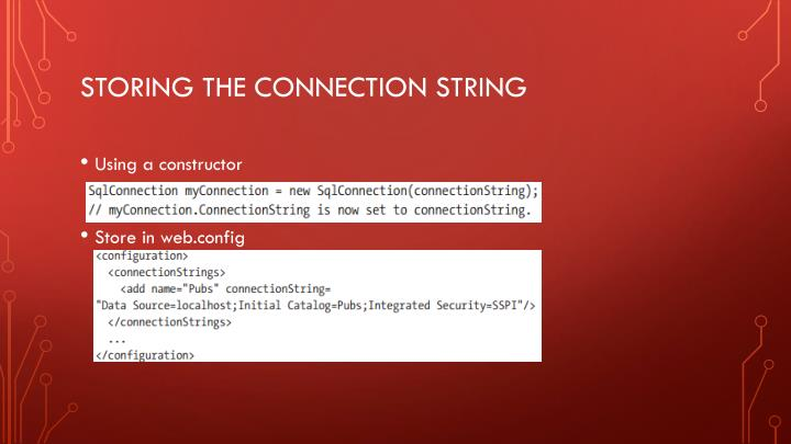 Storing the connection string
