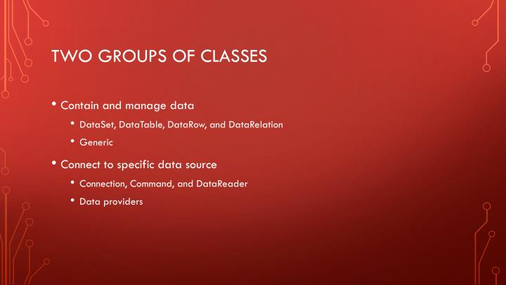 Two groups of classes