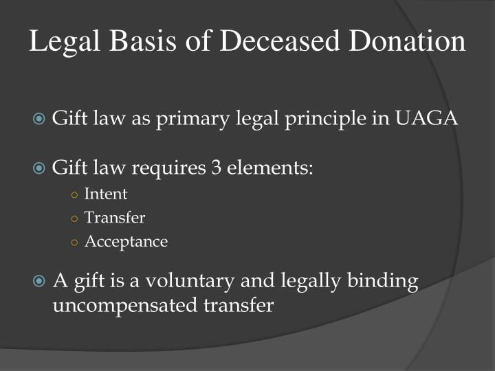 Legal basis of deceased donation