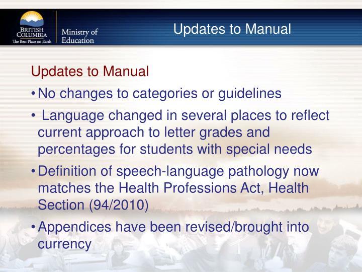 Updates to Manual